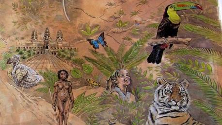 Rory McCann hand painted mural wildlife art school painting (10)