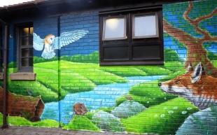 Rory McCann hand painted mural wildlife art school painting (102)
