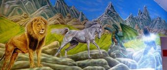 Rory McCann hand painted mural wildlife art school painting (108)
