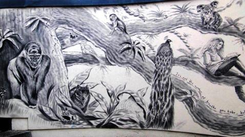 Rory McCann hand painted mural wildlife art school painting (13)