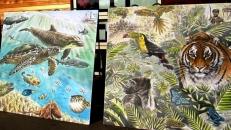 Rory McCann hand painted mural wildlife art school painting (14)