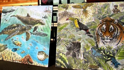 Rory McCann hand painted mural wildlife art school painting (14)