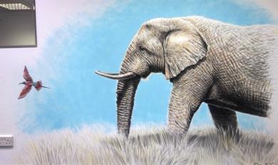 Rory McCann hand painted mural wildlife art school painting (20)
