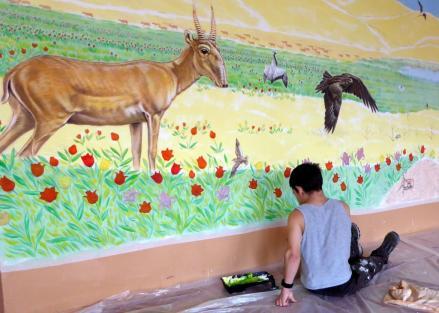 Rory McCann hand painted mural wildlife art school painting (47)