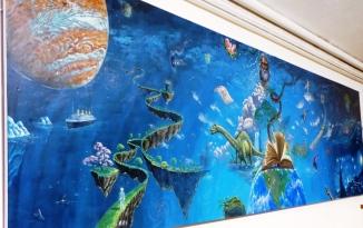 Rory McCann hand painted mural wildlife art school painting (72)