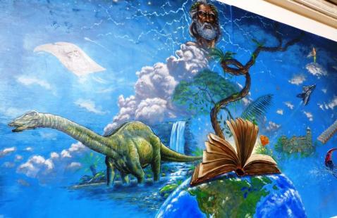Rory McCann hand painted mural wildlife art school painting (73)
