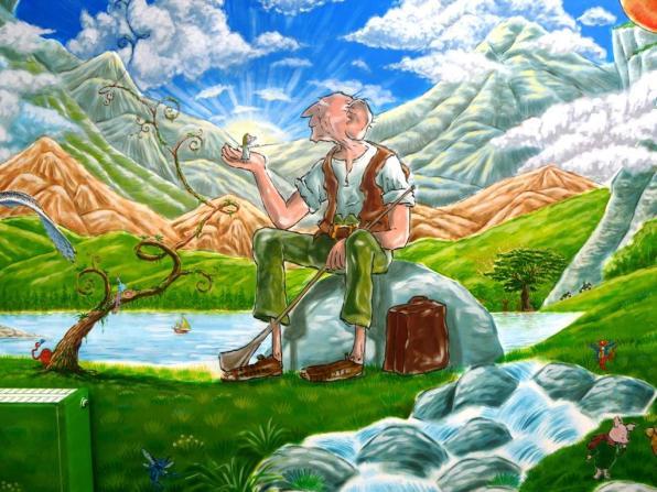 Rory McCann hand painted mural wildlife art school painting (76)