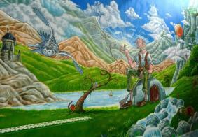 Rory McCann hand painted mural wildlife art school painting (82)