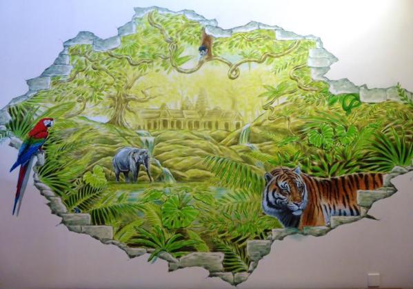 Rory McCann hand painted mural wildlife art school painting (86)